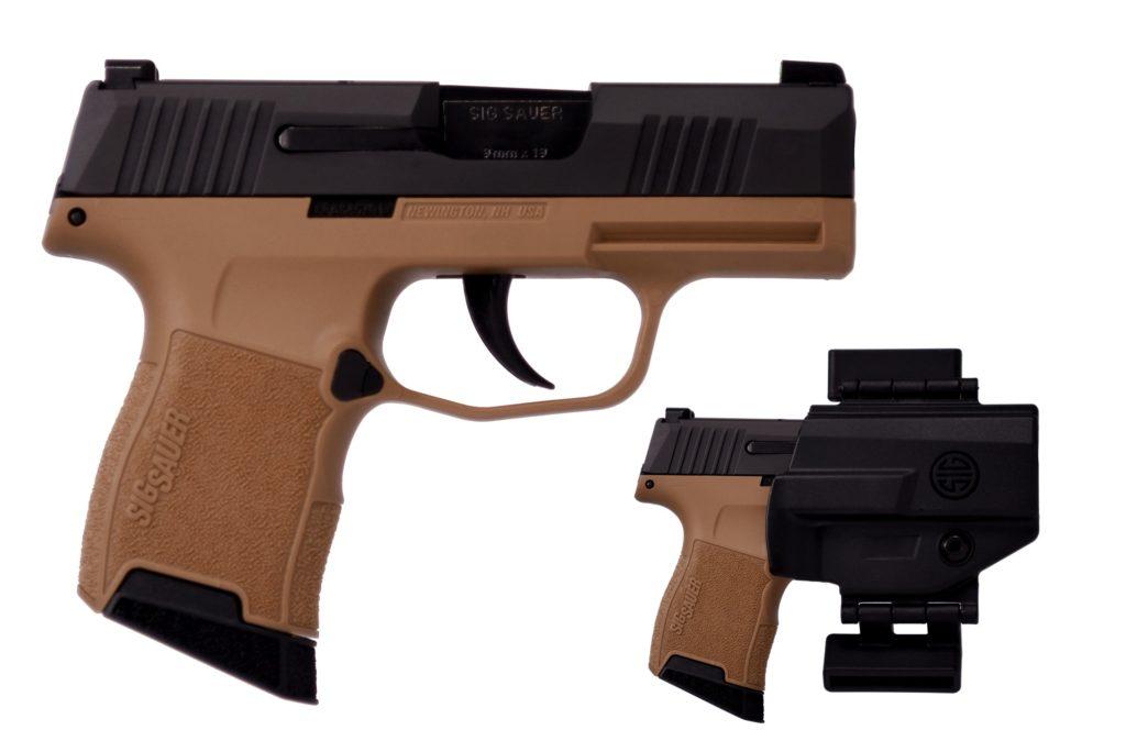 New Sig Sauer P365, 9mm, 3.1″ Barrel, 2 – 10 Round Magazines & 1 – 12 Round Magazine, Coyote & Black, Night Sights, Holster: Only $539!