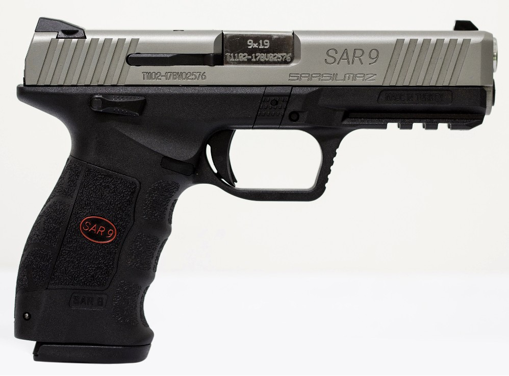 New SAR SAR-9, Semi-automatic, Striker Fired Pistol, 9mm, 4.4″ Barrel, Polymer Frame, Stainless Finish, 17 Rounds, 2 Magazines: Only $349!