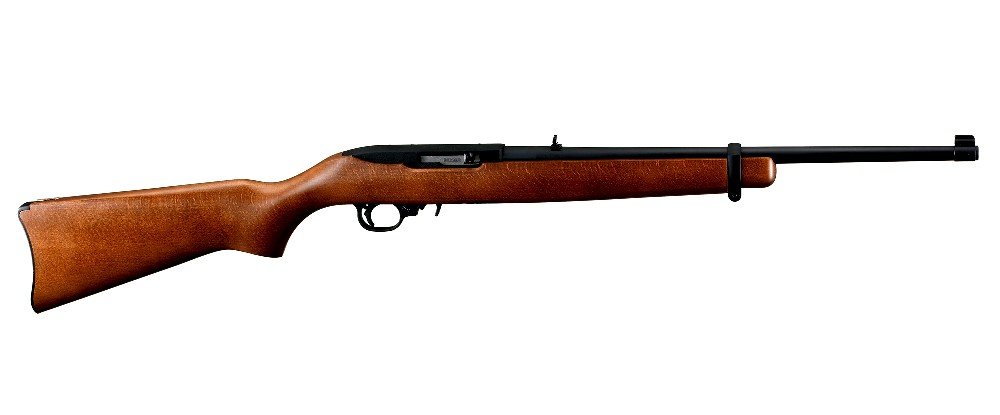 New Ruger 10/22 Carbine, Semi-automatic Rifle, .22 LR, 18.5″ Barrel, Satin Black Finish, Hardwood Stock, Adjustable Rear and Gold Bead Front Sight, 10 Rounds, 1 Magazine: Only $297!