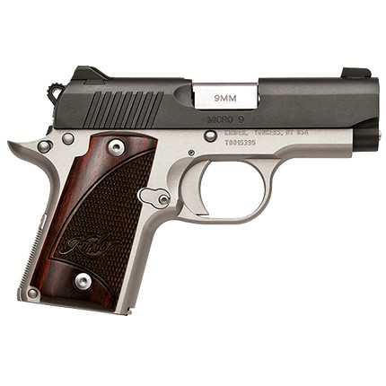 New Kimber Micro 1911, 9mm, 2.8″ Barrel, 2 Tone, White Dot Sights, 6 Round Magazine, Rosewood grips, Black Slide/Silver Frame: Only $659!