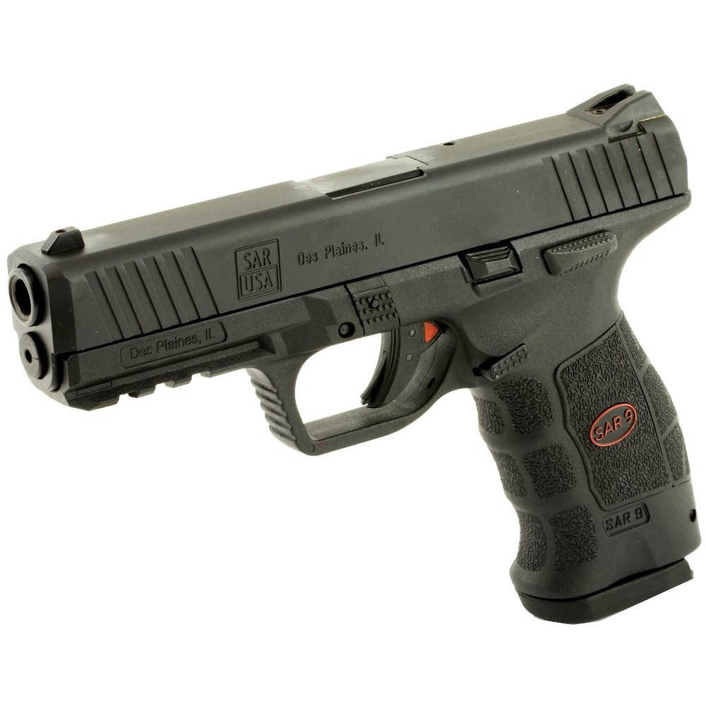 New SAR USA SAR9, Semi-Automatic, Striker Fired Pistol, 9mm, 4.4″ Barrel, Polymer Frame, Black Finish, 17 Rounds, 2 Magazines: Only $389!