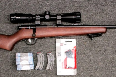 Preowned, Excellent Condition, Savage Mark II Youth Bolt Action Rifle, .22 LR, 19.0″ Barrel, Blue Finish, Wood Stock, Adjustable Sights, 10 Rounds, 3 Magazines, Bushnell Legend 3-9X40 Scope, Ammo, AccuTrigger: Only $379!