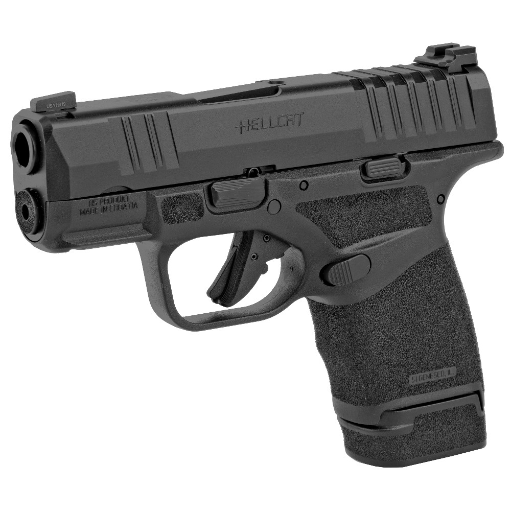 New Springfield Hellcat, Striker Fired, Sub-Compact, 9mm, 3.0″ Hammer Forged Barrel, Polymer Frame, Black, Melonite Finish, 11/13Round Magazines, Tritium Front Sight, Tactical Rack Rear Sight: Only $539!