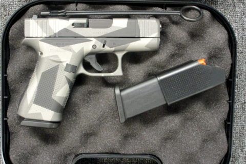 New Glock 43X, Semi-automatic Pistol, Striker Fired, Sub-Compact, 9mm, 3.4″ Barrel, Polymer Frame, Black Finish, Fixed Sights, 10 Rounds, 2 Magazines, Splinter Camo: Only $587!