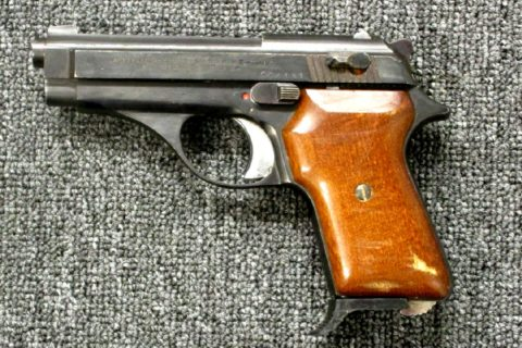 Preowned, Good Mechanical & Fair Cosmetic Condition, Tanfoglio GT380, .380 ACP, 8 Rounds, 1 Magazine, 3.5″ Barrel, Two External Safetys, Wood Grips, Holster: Only $229!