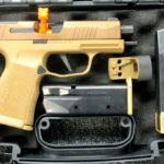 Preowned, Excellent Condition, Sig Sauer P365XL, 9mm, 3.7″ Barrel, Flat Trigger, Night Sights, 12 & 15 Rounds, 4 Magazines, Romeo Zero Red Dot, Coyote Tan, Original Case, Manual, Accessories: Only $797!